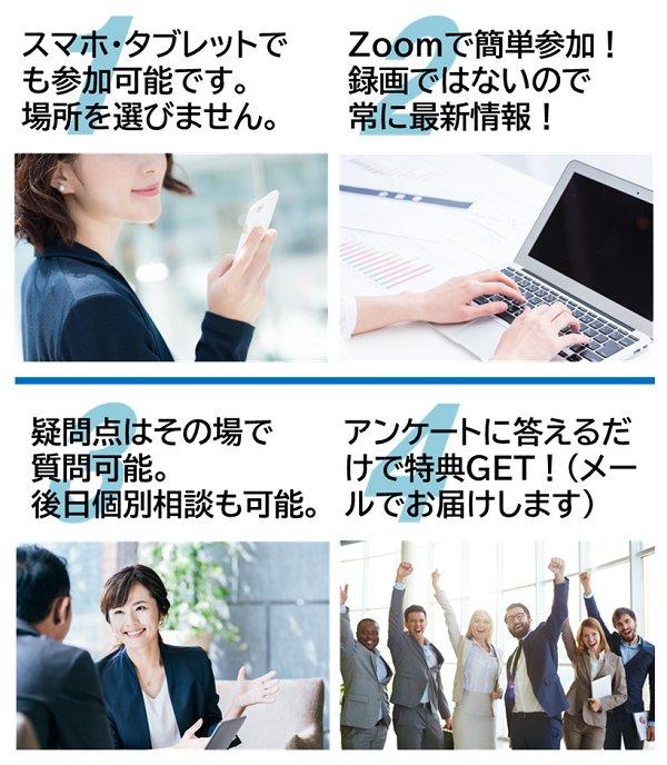 オンライン説明会の特徴、スマホで参加可能、録画ではないので常に最新情報、疑問点はその場で質問可能、アンケートに答えて特典GET